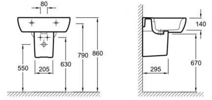 Полупьедестал JACOB DELAFON Ove для умывальников E1703/E1704/E1565/E1563 (19964W-00)