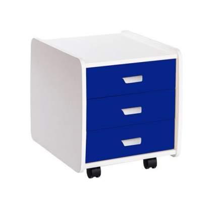 Тумба детская Астек Лидер 3 ящика 07961-4 синий с цветными фасадами
