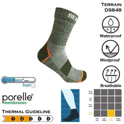 Носки DexShell Waterproof Terrain Walking Ankle 2018 зеленые/оранжевые, размер 43-46