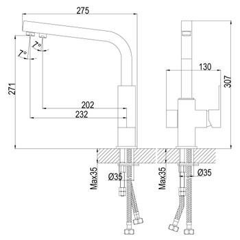 Смеситель для кухонной мойки Rossinka Z35-32