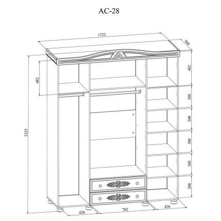 Платяной шкаф Компасс-мебель Ассоль плюс АС-28 KOM_AC28_1_plus 173,2x56,6x222,5, ваниль