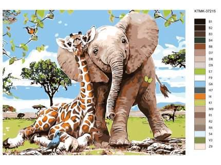 "Картина по номерам Живопись по Номерам ""Жираф и слон"", 40x50"