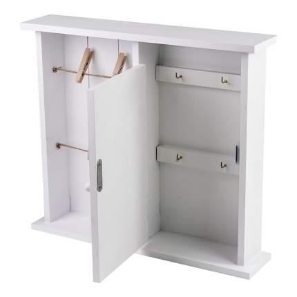 ML-4739 Ключница белая с дверцей и подвесами на прищепках  (34x7x30 см.) /6