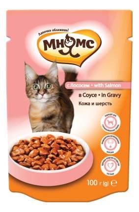 Влажный корм для кошек Мнямс Кожа и шерсть, лосось в соусе, 100г