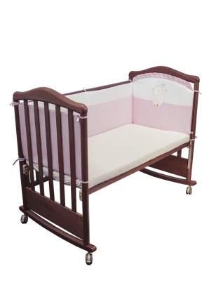 Борт в кроватку Сонный Гномик Пушистик розовый