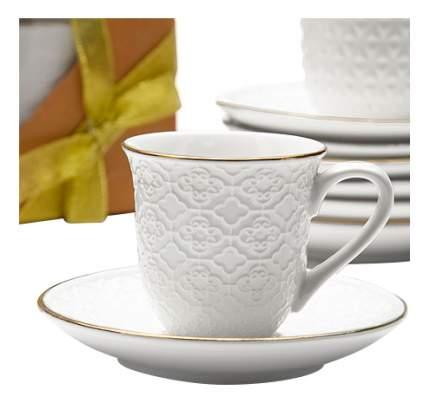 Кофейный сервиз LORAINE 12 предметов 90 мл белый с золотой каймой