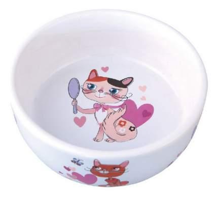 Одинарная миска для кошек DEZZIE, керамика, белый, 0.3 л