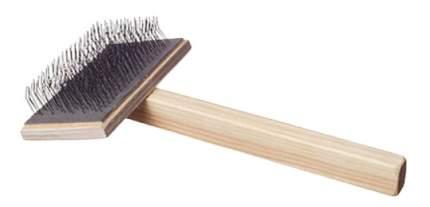 Пуходерка для кошек и собак Зооник бежевый, большая, плоская, деревянная ручка