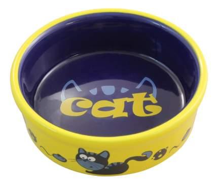 Одинарная миска для кошек и собак Triol, керамика, желтый, синий, 0.25 л