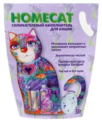 Впитывающий наполнитель для кошек HOMECAT силикагелевый, лаванда, 1.8 кг, 3.6 л