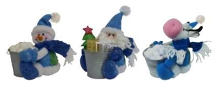 Игрушка новогодняя Snowmen Новогодняя мягкая игрушка с ведерком Е80722 18 см