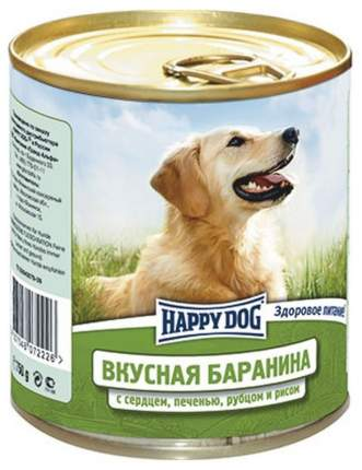 Консервы для собак Happy Dog, баранина, сердце, печень, рубец, 750г