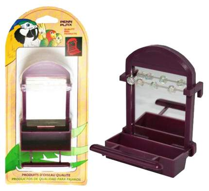 Кормушка для птиц Penn-Plax, пластик, коричневый, с зеркалом и бусинами