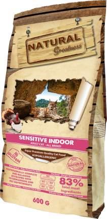 Сухой корм для кошек Natural Greatness Sensitive Indoor, для домашних, гипоаллергенный,2кг