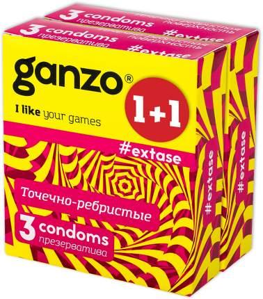 Презервативы Ganzo extase с ребристой структурой 2 упаковки по 3 шт.