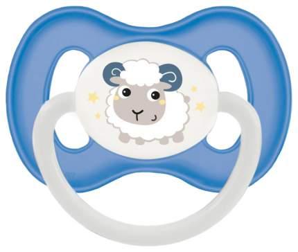 Пустышка симметричная Canpol Bunny & company силикон 0м+, цвет голубой/овечка