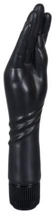 Чёрный вибромассажер-рука для фистинга - 25 см