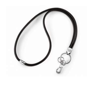 Кожаный шнурок BMW Lanyard, Leather, Black/Silver