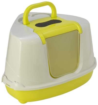 Туалет для кошек MODERNA Flip Corner, угловой, желтый, белый, 55х45х38 см