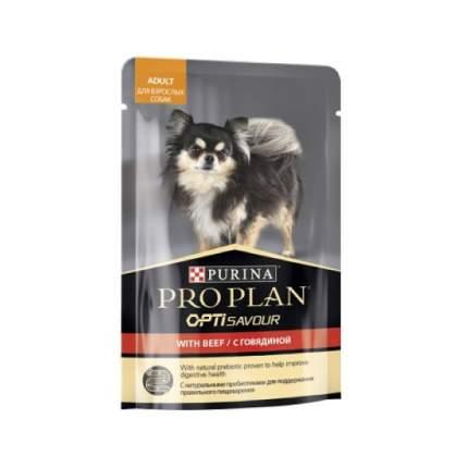 Влажный корм для собак PRO PLAN OptiSavour Adult, для мелких пород, говядина, 100г