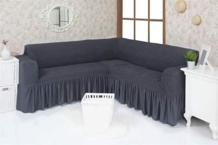 Чехол на угловой диван с оборкой Venera, тёмно-серый