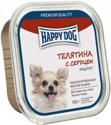 Консервы для собак Happy Dog, для мелких пород, паштет, телятина с сердцем, 100г