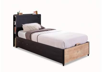 Кровать с подъемным механизмом Cilek Black 100х190 см, черный/коричневый