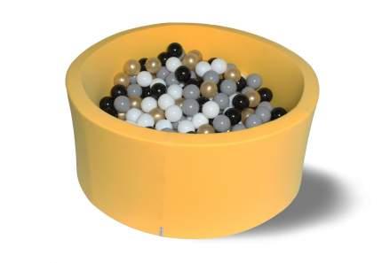 Сухой игровой бассейн Золотой песок желтый 40см с 200 шарами: сер, бел, черн, золот