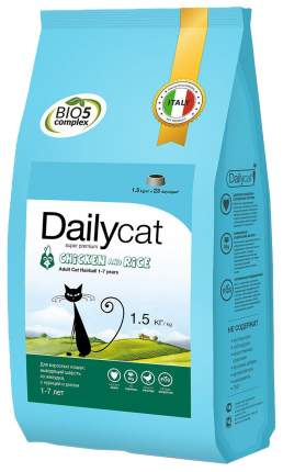 Сухой корм для кошек Dailycat Hairball, курица и рис, 1,5кг