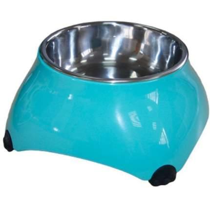 Одинарная миска для кошек и собак SuperDesign, сталь, голубой, 0.16 л