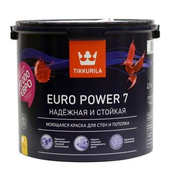 Краска Tikkurila Euro Power 7 для стен и потолков база А 2.7л