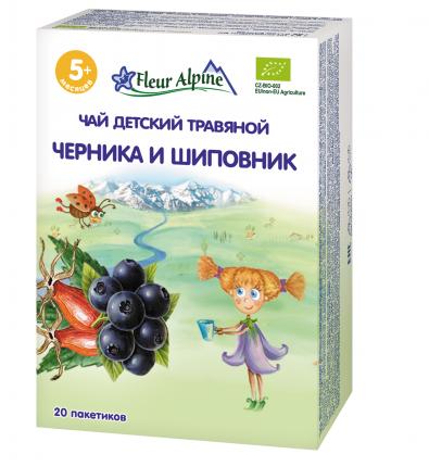 Чай травяной Fleur Alpine Органик Черника и шиповник, 5 мес., 30 г 8 шт.