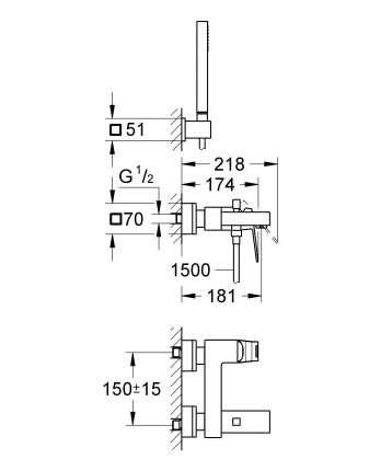 Смеситель для ванны Grohe Eurocube 23141000 хром