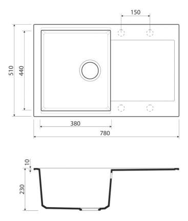 Мойка для кухни гранитная OMOIKIRI Daisen 78-BL черный