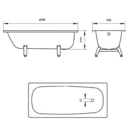 Стальная ванна ВИЗ Donna Vanna 140х70 без гидромассажа