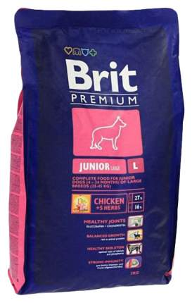 Сухой корм для щенков Brit Premium Junior L, для крупных пород, курица, 3кг