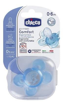 Силиконовая пустышка ортодонтическая Chicco Physio Comfort (голубая-собачка)