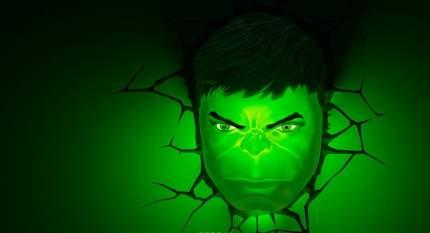 Настенный 3D cветильник 3DLightFX Hulk Face
