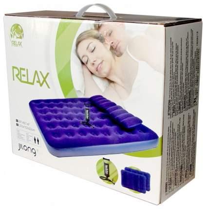 Надувная кровать Relax Flocked Air Bed Queen 2 Pillows с ручным насосом 203х152х22 Синий