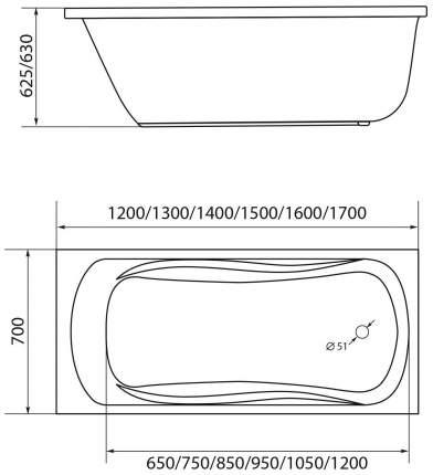 Акриловая ванна 1MarKa Classic 120х70 без гидромассажа