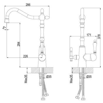 Смеситель для кухонной мойки Rossinka Z35-33