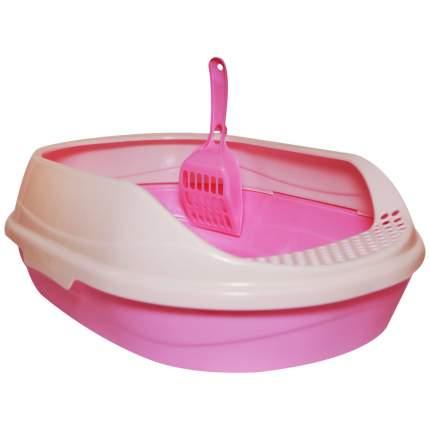 Лоток для кошек HOMECAT с высоким бортом, розовый, 43 х 31 х 16 см