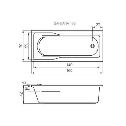 Акриловая ванна Cersanit WP-SANTANA*160-W