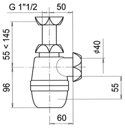 Сифон МИНОР без выпуска 1 ½ х 40 мм