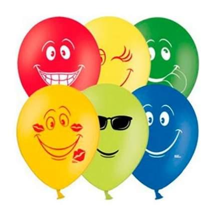 Веселая затея 1111-0039 набор шаров рис улыбка 30 см 5 шт