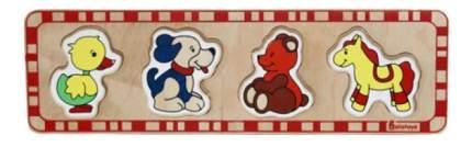 """Деревянная игрушка для малышей Alatoys """"Утка, Собака, Медведь, Лошадка"""""""