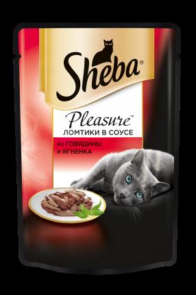 Влажный корм для кошек Sheba Pleasure ломтики из говядины и ягненка в соусе, 85г