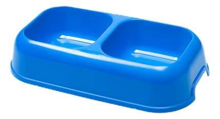 Двойная миска для кошек Ferplast, пластик, синий, 2 шт по 0.6 л