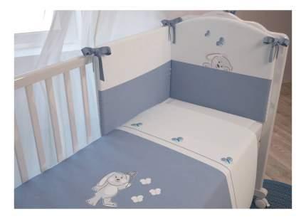 Комплект детского постельного белья Polini Зайки 120 х 60 см, голубой