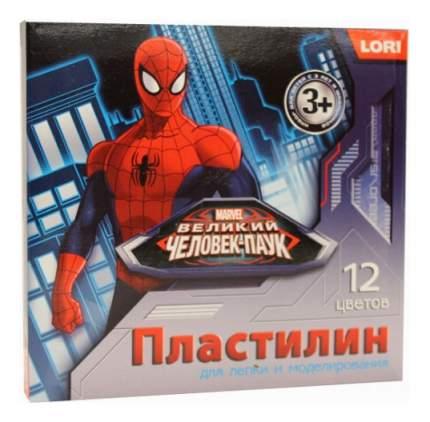 Пластилин Человек-паук 12 цветов без европодвеса Lori Плд-011